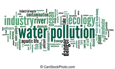 Water pollution - environment issues and concepts word cloud illustration. Word collage concept.