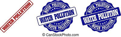 WATER POLLUTION Grunge Stamp Seals