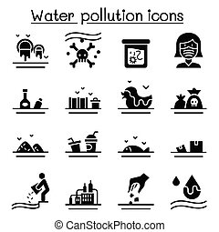 Water pollution icon set flat style