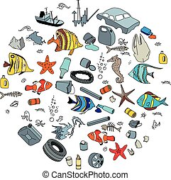 Water pollution in the ocean. Garbage and waste. Eco concept...