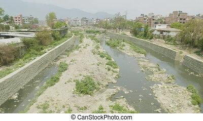 Water pollution of Bagmati River in Kathmandu, Nepal.