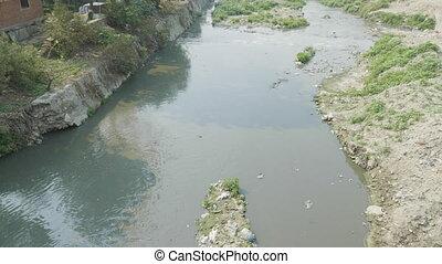Water pollution of Bagmati River in Kathmandu, Nepal. -...