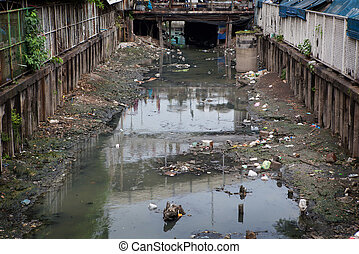 Water pollution and Garbage in river