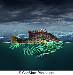 Water Pollution - Water pollution and polluted ocean concept...
