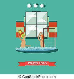Water polo concept vector illustration in flat style