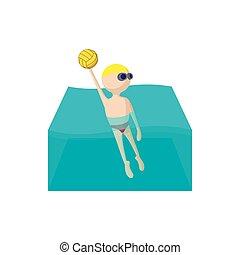 water-polo, dessin animé, icône
