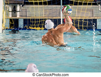 water polo game - water polo players on swimming pool