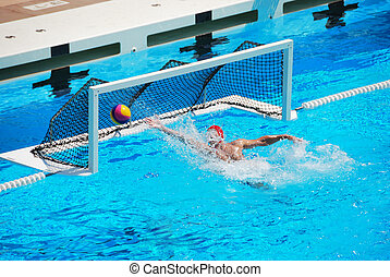 Water Polo Goal - A water polo goalkeeper misses the ball...