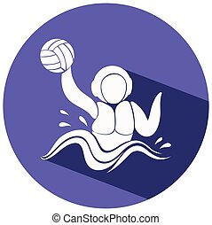 Water polo icon on round badge