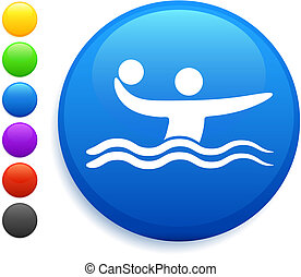 water polo icon on round internet button original vector...