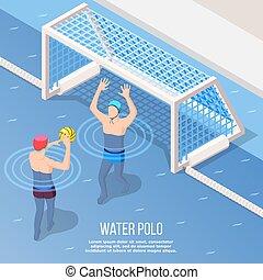 water-polo, isométrique, fond