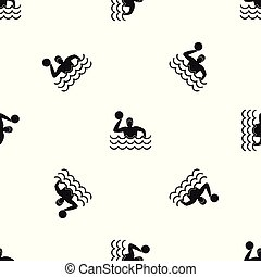 Water polo pattern seamless black