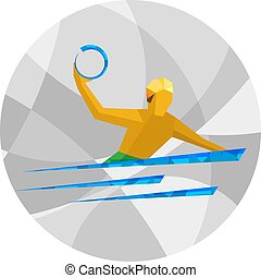 Water polo player. Athlete on gray background