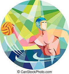 Water Polo Player Throw Ball Circle Low Polygon - Low...