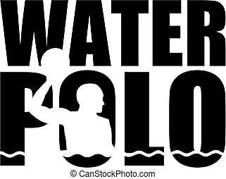 Water polo word with silhouette cutout