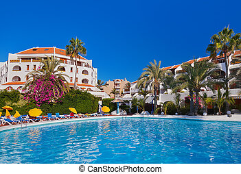 Water pool at Tenerife island - vacation background