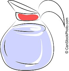 Water pot, illustration, vector on white background.