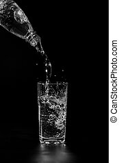 glass cup on a black background