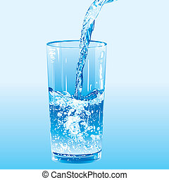 Water poured into a tumbler, editable vector illustration