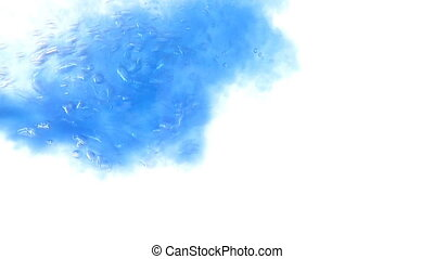 Water pouring - Slow motion shot of pouring blue ink in a...