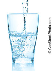 Water pouring into glass. White background