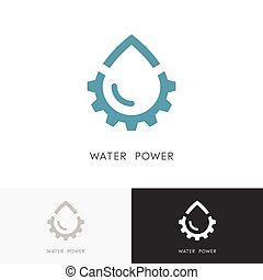 Water power logo - drop of water and gear wheel or pinion...