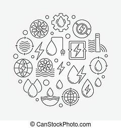 Water power round illustration