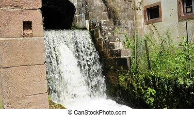 Water power use in the former ironworks in Jaegerthal,...