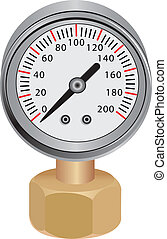 Water Pressure Gauge - Pressure gauge, measuring instrument...