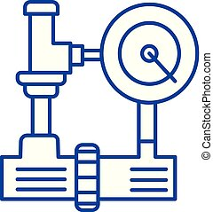 Water pressure system, hvac industry line icon concept....