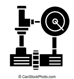 water pressure system - industry icon, vector illustration, black sign on isolated background