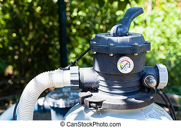pump of outdoor filtering system of swimming pool