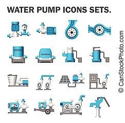 Water pump set - Water pump vector icons sets.