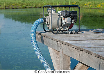water pump updated water from a lake