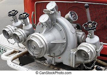 Water pump on a fire truck