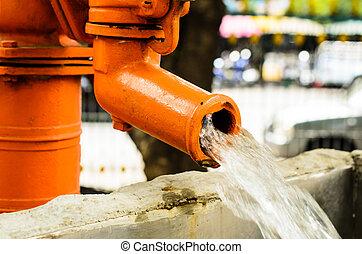 Water pump - Close up of water pump. Outdoor (water, pump,...