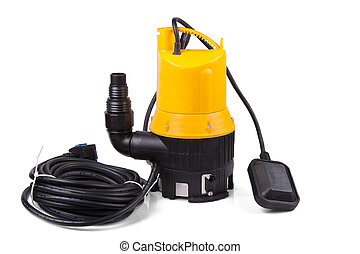 water pump is yellow on a white background