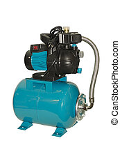 Water pump with pressure vessel on a white background
