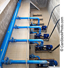 water pumping station - water treatment plant within the pumps and pipelines