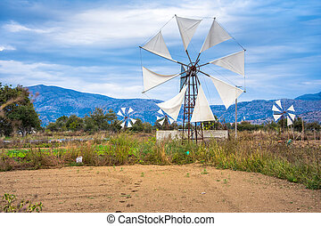 Water pumps driven by wind on the mountain plateau Lasithi in the inland of the island of Crete, Greece