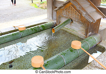 Water purification in japanese temple
