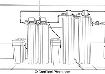 Water purification station. Industrial equipment. Tracing...