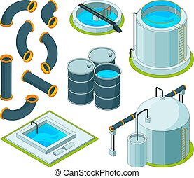 Water purification. Treatment watering cleaning system chemical laboratory vector isometric icons