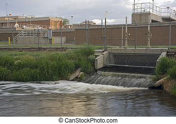 Water reclamation plant with processed and cleaned sewage ...
