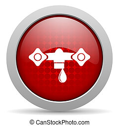 water red circle web glossy icon