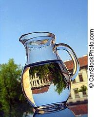 water, -, reflectie, kruik