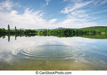 Water reflection on lake