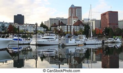 Water Reflection of the Marina, Hawthorne Bridge and City of Portland Oregon along Willamette River 1080p