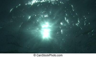 Water reflex - Sunbeams shine through the water surface.