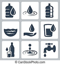 Water related vector icon set
